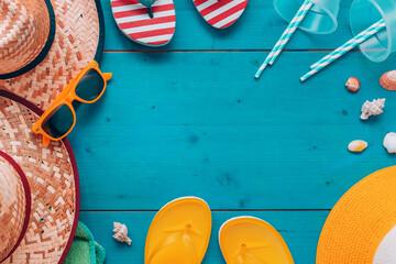 Fototapeta Summer holiday vacation beach accessories flat lay top view obraz