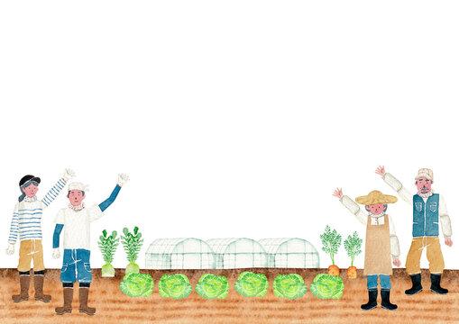 農業 農家 人物 畑 野菜 背景 フレーム 水彩 イラスト
