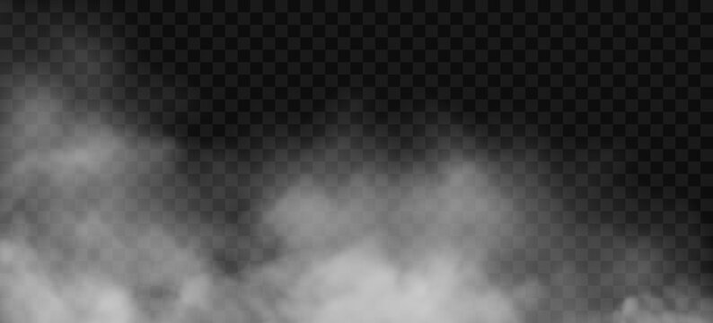 White fog or smoke 3D effect on transparent background. Vector cloud, mist cloudiness, vapor condensation, stream of gas or spray. Cloudy smoky steam, blowing cigarette smog, magic dust spread