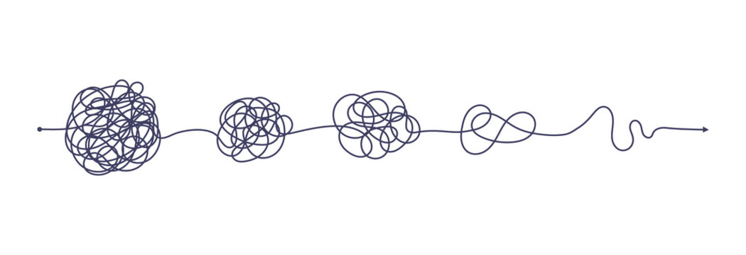 Chaos simplifying, problem solving and business solution searching challenge concept vector illustration set. Complex and easy simple way from start to end. Hand drawn doodle scribble chaos path lines