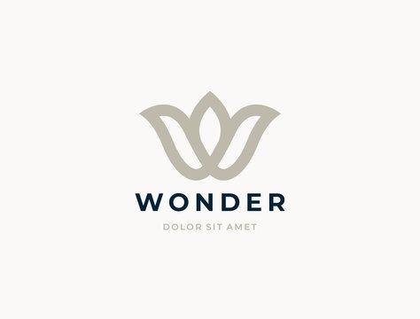 Letter W logo template. Modern elegant logotype.