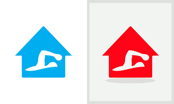 Swimmer House logo design. Home logo with Swimming concept vector. Swimming and Home logo design
