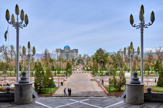 DUSHANBE,REPUBLIC OF TAJIKISTAN-MARCH,16,2016:Dushanbe city center. View of Rudaki Park and the House of the Government of the Republic of Tajikistan