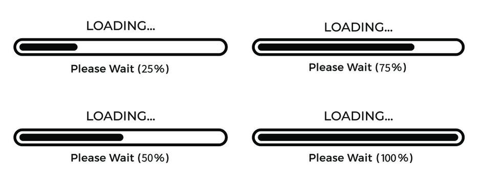 Set loading bar icons vector illustration graphic on background. Vector illustration