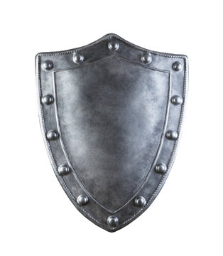 Old medieval shield isolated on white background with clipping path