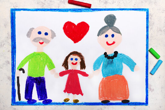 Colorful drawing: Grandparents Day card. Smiling grandmother, grandfather and their granddaughter
