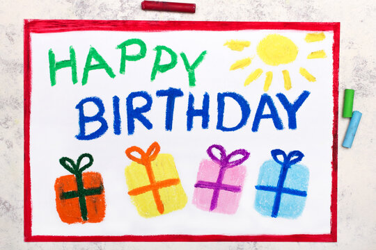 colorful drawing: HAPPY BIRTHDAY card and beautiful gifts