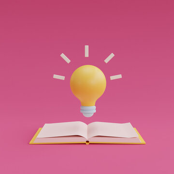 3d render yellow lightbulb floating from open book on pink background. minimal design.