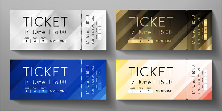 Admission ticket template set. Vector stripe tear-off entrance ticket with abstract diagonal line on background. Design template for concert event, musical performance, exhibition, show