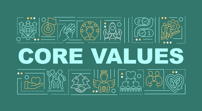 Core values word concepts banner. Behaviors, decisions control. Fundamental beliefs. Infographics with linear icons on green background. Isolated typography. Vector outline RGB color illustration