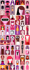 Flat design avatars. Large set of funny characters. Pop art collage of close up portraits of different people. Can be used as seamless wallpaper.