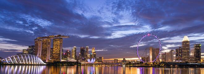 Fototapeta Wide panorama of Singapore cityscape at dusk. obraz