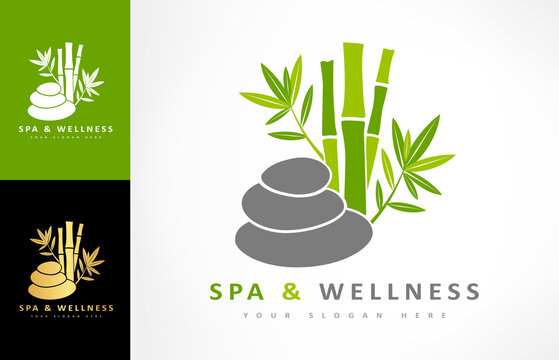 Spa and wellness logo vector. Bamboo and stones for spa design.