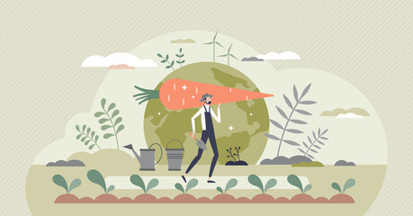 Obraz Sustainable agriculture and ecological slow food growth tiny person concept. Environmental gardening with clean energy resources consumption for biological vegetables farming vector illustration. - fototapety do salonu