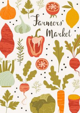 Vegetables farmers' market poster. Hand drawn vector illustration.