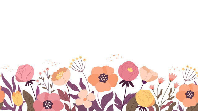 Floral horizontal background. Vector illustration of seamless floral pattern made by cartoon garden flowers. Isolated on white