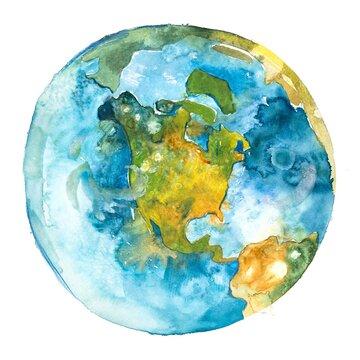 North America on the globe. Earth planet. Watercolor.