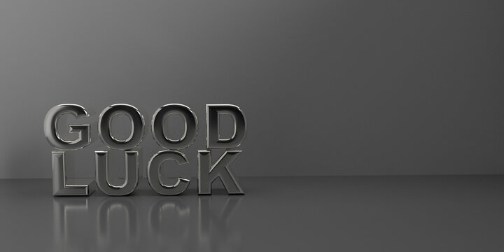 Silver letters in 3d with the words good luck. 3d render