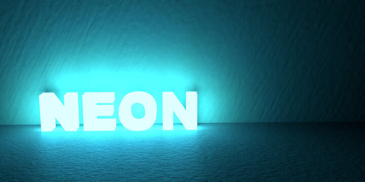 The word neon made with blue neon material. 3d render