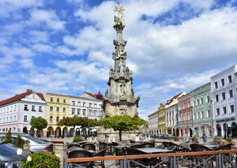 memorial plague column of the Holy Trinity in town Jinrichuv Hradec in Czech republic