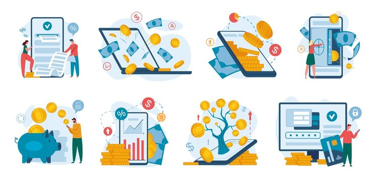 Online banking. Finance management using phone or laptop. Internet payment, money transaction, finance growth, bank deposit concept vector set. Saving and investing cash, credit card usage