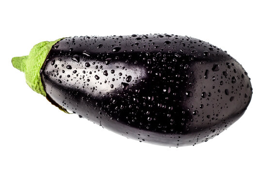 Eggplant in drops of water on a white background.