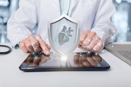 Patient heart insurance and protection concept.