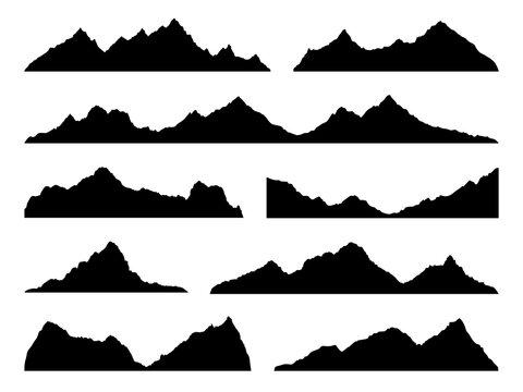 Mountains silhouettes black. Skyline ranges, high mountain hike landscape, alpine peaks. Extreme hiking nature border. Horizontal panorama template, decor elements vector isolated set