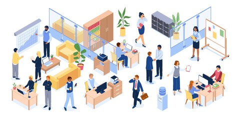 Isometric office people. Business workplace with tables computers and chairs, men and women bank professional team, working open space environment. Corporate teamwork meeting vector set
