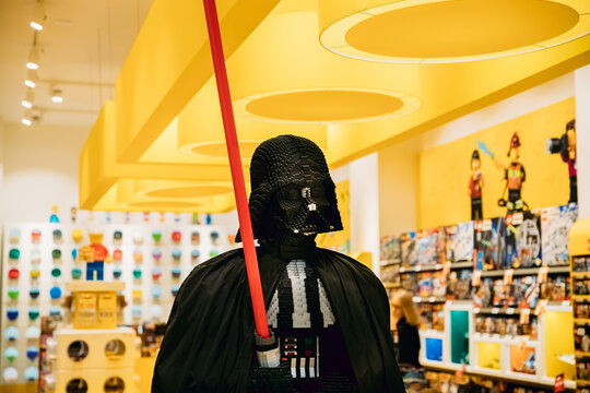 Statue Of Darth Vader From Star Wars Assembled From Lego In Lego Store