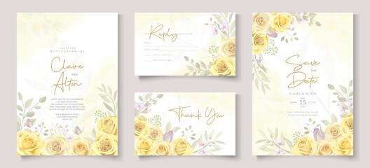 Beautiful wedding invitation template with hand drawn yellow roses - fototapety na wymiar