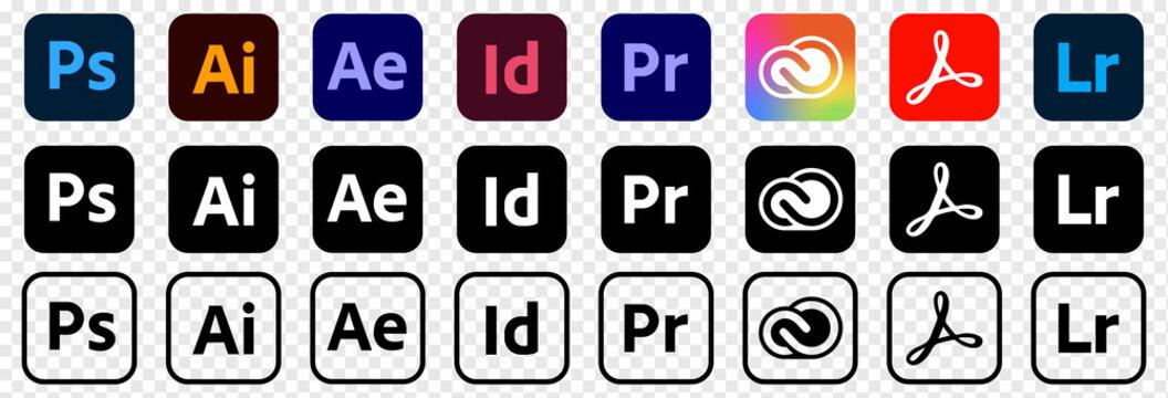 VINNYTSIA, UKRAINE - MAY 11 2021: Set of popular Adobe apps icons illustrator, photoshop, creative cloud, after effects, lightroom and etc. Editorial vector illustration