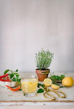 Sommerliches Getränk wird zubereitet mit Zitronen