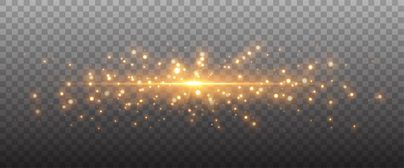Fototapeta Gold glittering dots, sparkles, particles on a transparent background. Abstract light effect. Gold luminous points. Vector illustration. obraz