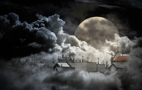 Creepy full moon night