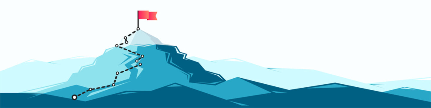 Flag on the mountain peak. Business concept of goal achievement or success. Flat style illustration