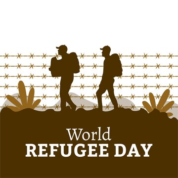 June 20 World Refugee Day special vector illustration and white text effect, painful illustration, sorrow, Pain, Refugee, white, Barbed wire, Mud color, Refugee day.