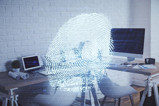 Double exposure of finger print and office interior background. Concept of security.