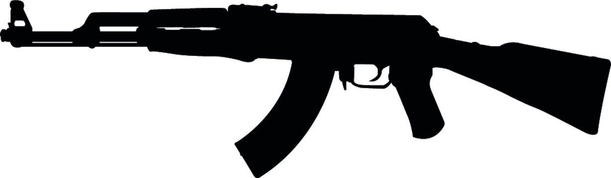 Ak47 , AKM , Machine Gun, Gun, Rifle Eps Vector