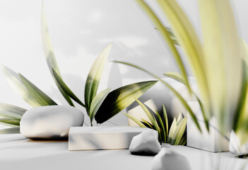 Fototapeta 3D render podium, showcase on light white background with shadows in green tropical leaves of plants. Abstract natural,organic background for advertising products, spa body care, relaxation, health.