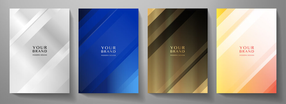 Modern cover design set. Creative abstract with diagonal line pattern on background in silver, blue, black and gold color. Premium vector collection for business catalog, brochure template, booklet