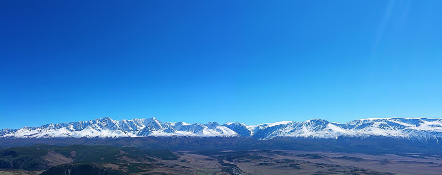 Altai mountains panorama view from drone, hill nature view of russia landscape