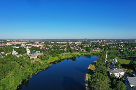 vologda view of the city from a drone, buildings architecture, a trip to the province in russia