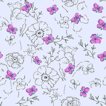 Gentle watercolor floral seamless print for fabric or packaging paper. Vintage style
