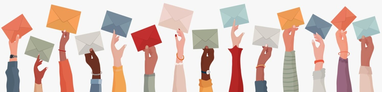 Group of multi-ethnic business people with raised arms holding an envelope. Colleagues or co-workers or friends.Diverse races and cultures. Email exchange.Share messages and information