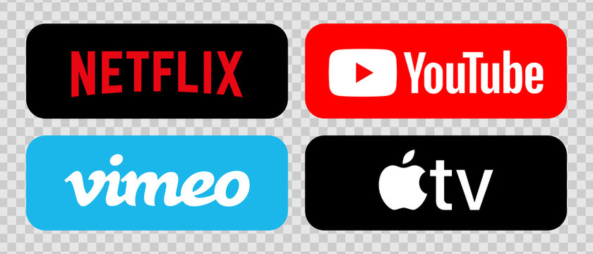 Netflix, Youtube, Apple TV, Vimeo. Streaming service. Vector logos of popular streaming services on a transparent background. Editorial online video icons. Vector EPS 10