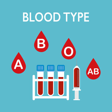 Blood type concept vector illustration. Blood samples in test tube, injection syringe and blood drop with A, B, O, AB group label in flat design.