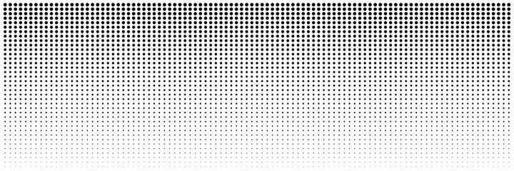Dot halftone background. Abstract gradient black dots background. Halftone effect. Dot seamless horizontal geometric pattern. Stock vector