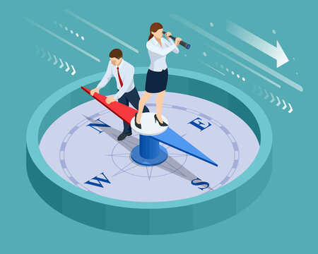 Isometric define marketing direction and search customer global network. Business people using compass for navigation and orientation in business. Business success concept