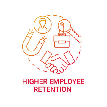 Higher employee retention concept icon. Company culture benefit idea thin line illustration. Wellness benefits, compensation for worker. Work-life balance. Vector isolated outline RGB color drawing